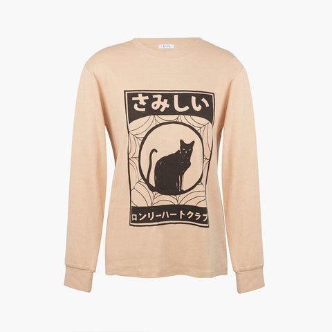 Lonely Cat LS Tee - Tan/Black