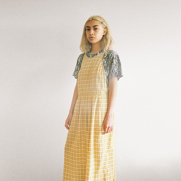 Lonely Patricia Dress in Gold Check