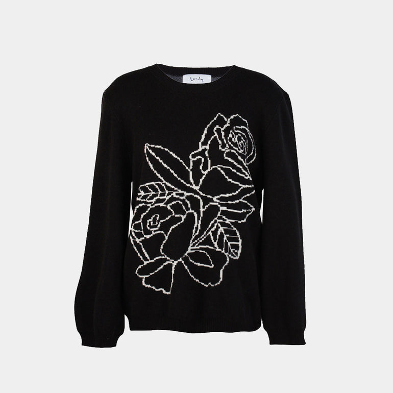 Lonely Rose Sweater - Black