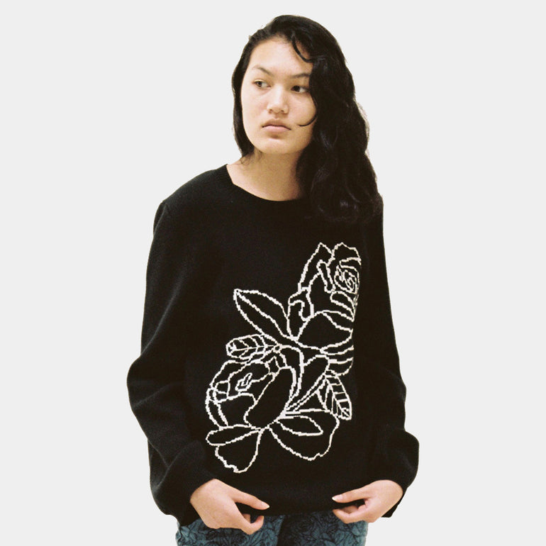 Lonely Rose Sweater in Black