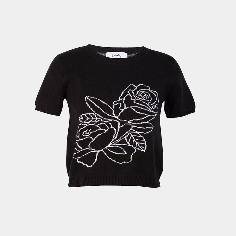 Lonely Rose Tee - Black