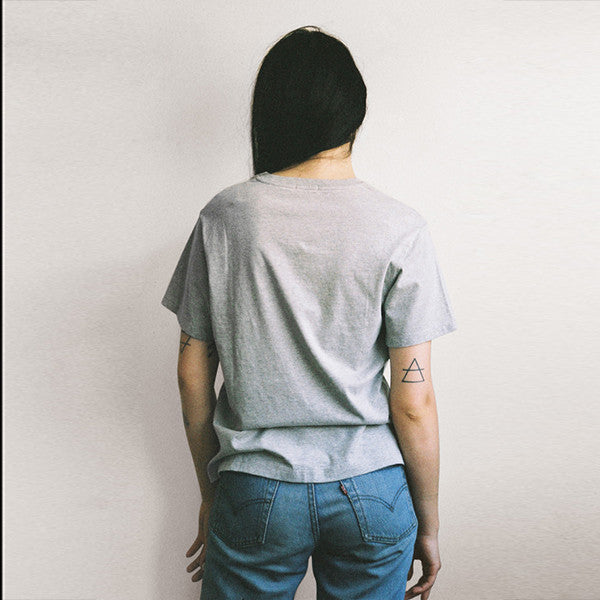 Lonely Paper Moon / Tee (embroidered) - Grey Marle