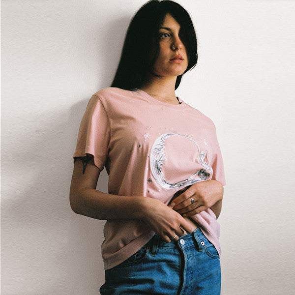 Lonely Paper Moon Tee (embroidered) in Blush