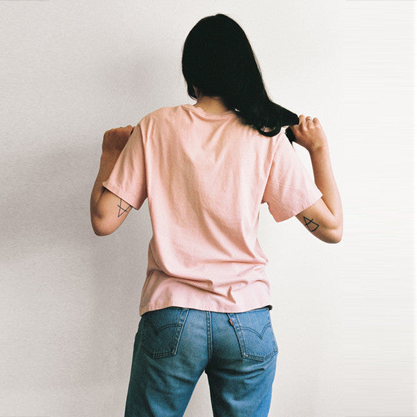 Lonely Paper Moon / Tee (embroidered) - Blush