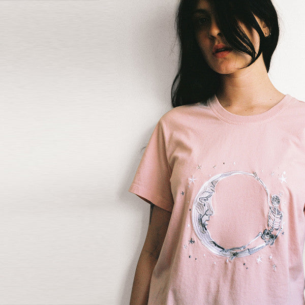 Lonely Paper Moon Tee (embroidered) Blush