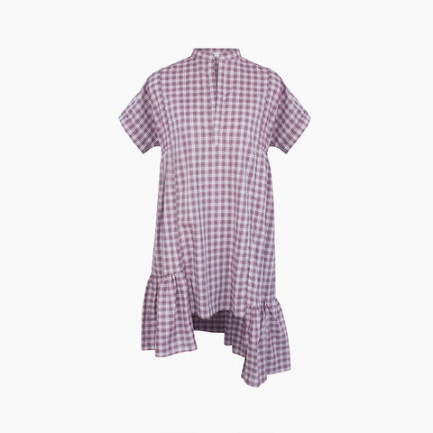 Lonely Yuki Tee Dress - Lilac Plaid