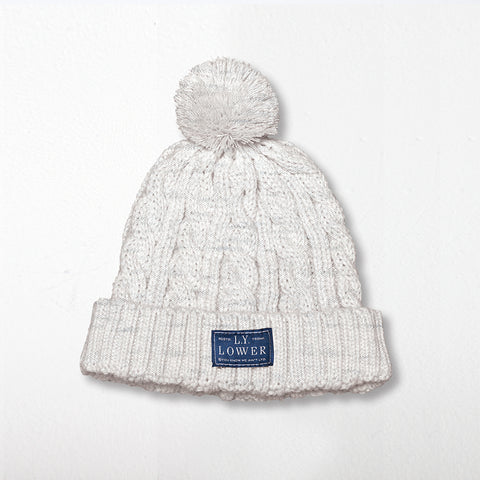 Lower Cable Beanie - Grey Marle