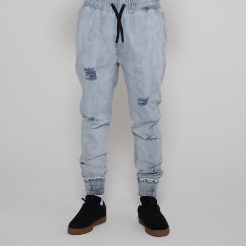 Lower Distressed Stan Jogger - Light Wash