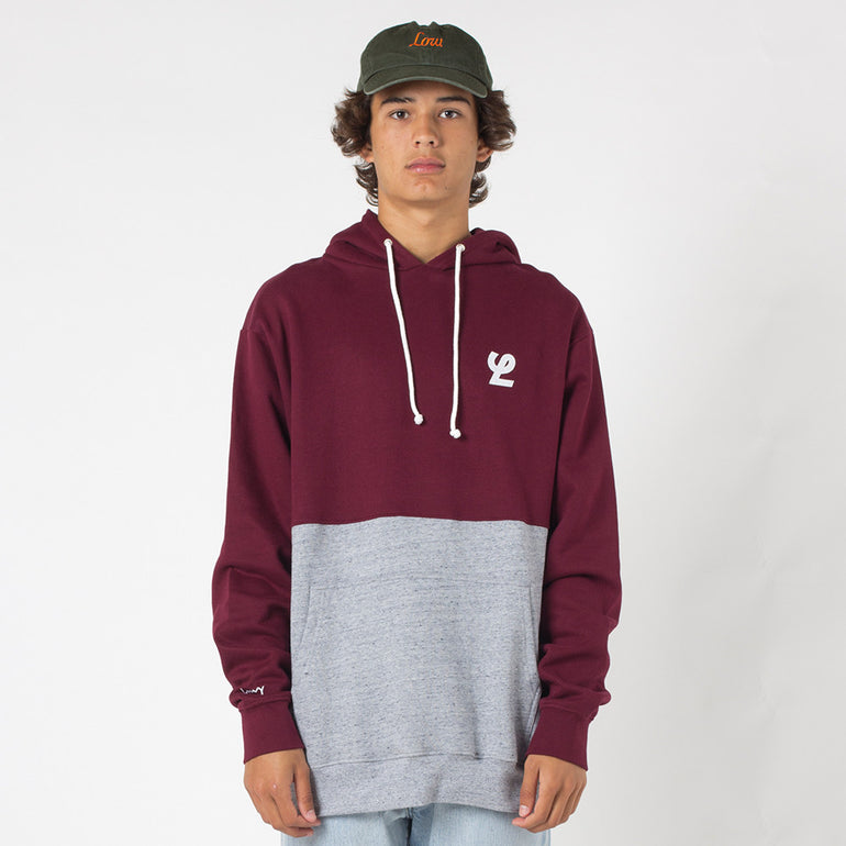 Lower Halfway Hood / Duke Applique - Maroon/Grey Marle