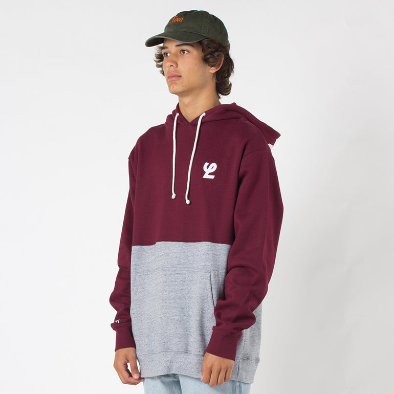 Lower Halfway Hood / Duke Applique in Maroon/Grey Marle