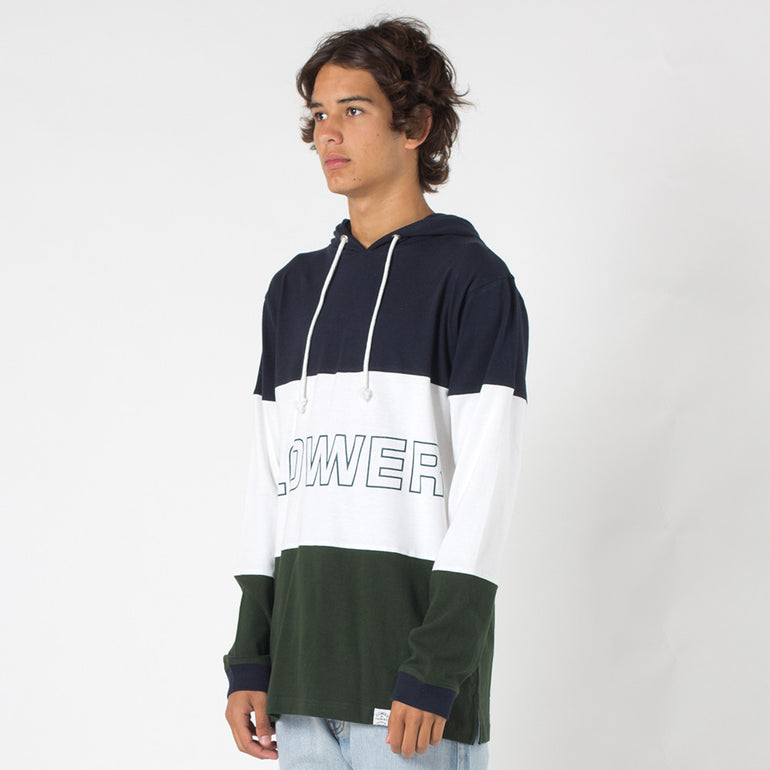 Lower Irving Panel L/S Tee / Brooks in Navy/White/Green