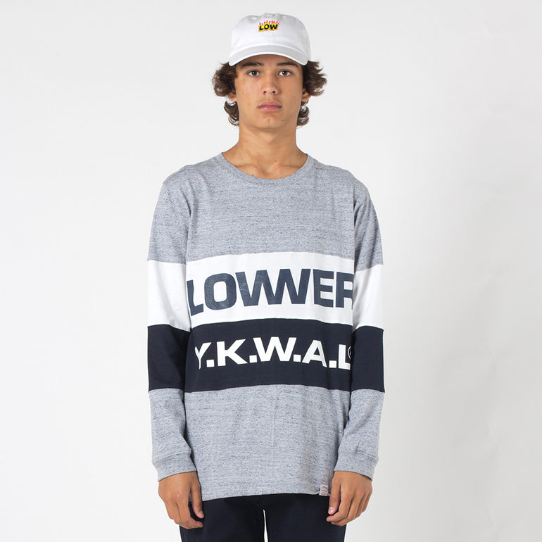 Lower Split L/S Tee / Keep - Grey Marle/Navy/White