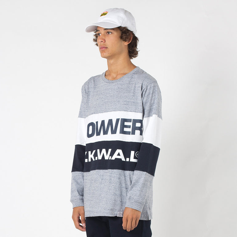 Lower Split L/S Tee / Keep in Grey Marle/Navy/White
