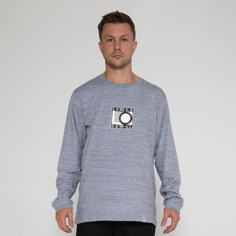 Lower QRS L/S Tee / Print 92 - Grey Marle