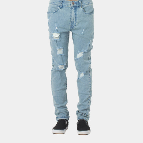 Lower Ripped Leaner Jeans - Blue