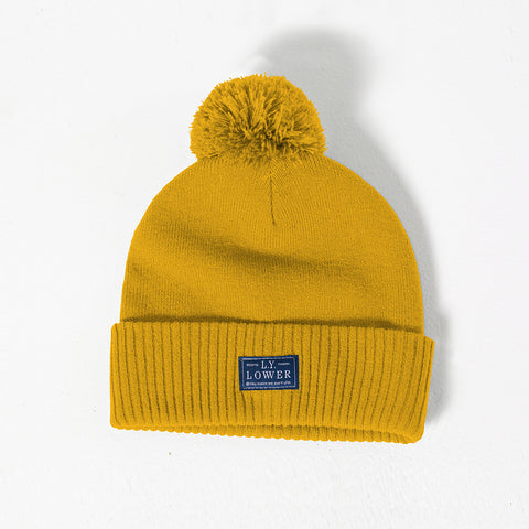 Lower Pom Beanie - Gold