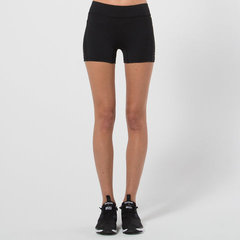 Lower Sport Flat Waist Short Shorts - Black