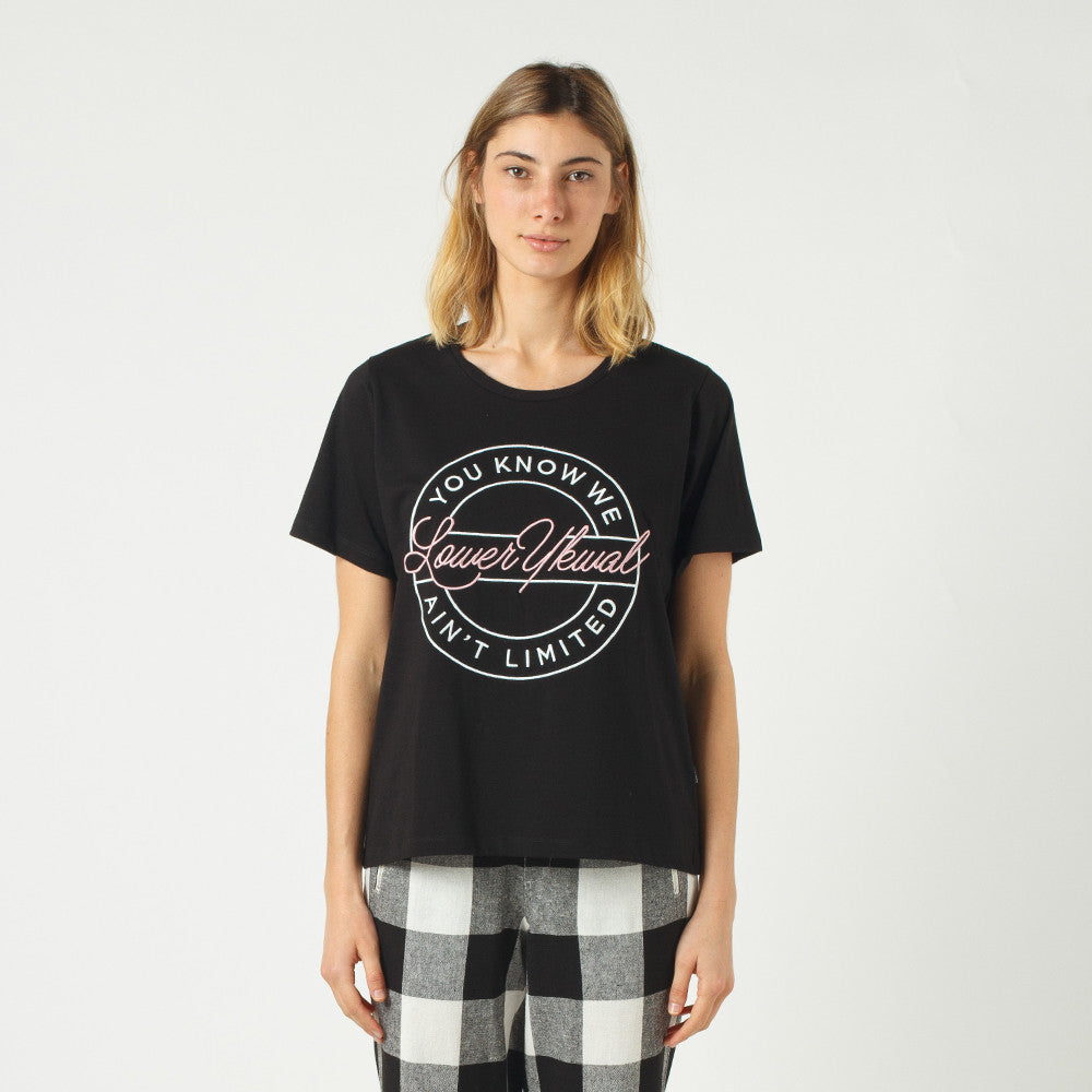 Lower Active Tee / Script Sign (Embroidered) - Black