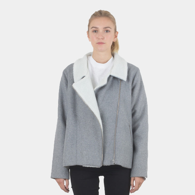 Lower Biker Coat - Grey