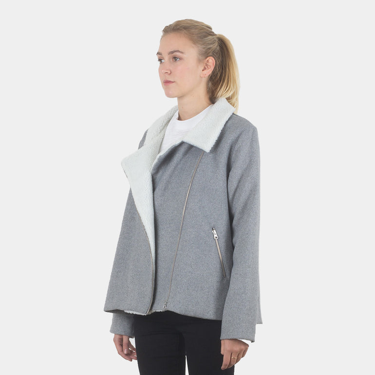 Lower Biker Coat in Grey