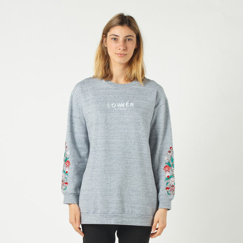 Lower Boyfriend Crew / Floral (Embroidered) - Grey Marle