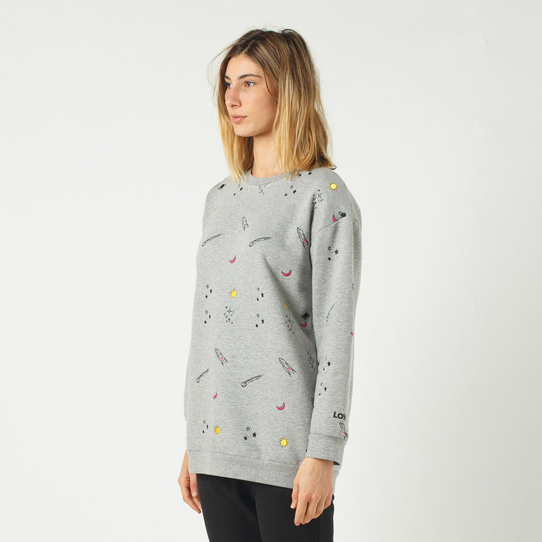 Lower Boyfriend Crew / Outta Space (Embroidered) in Grey Marle