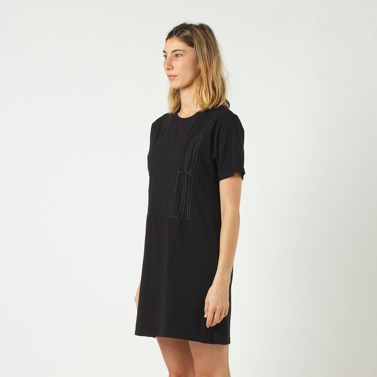 Lower Panel Tee Dress in Black