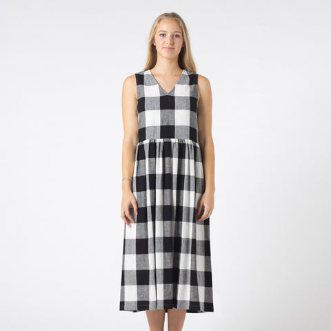 Lower Pinafore Dress - Black/White Check