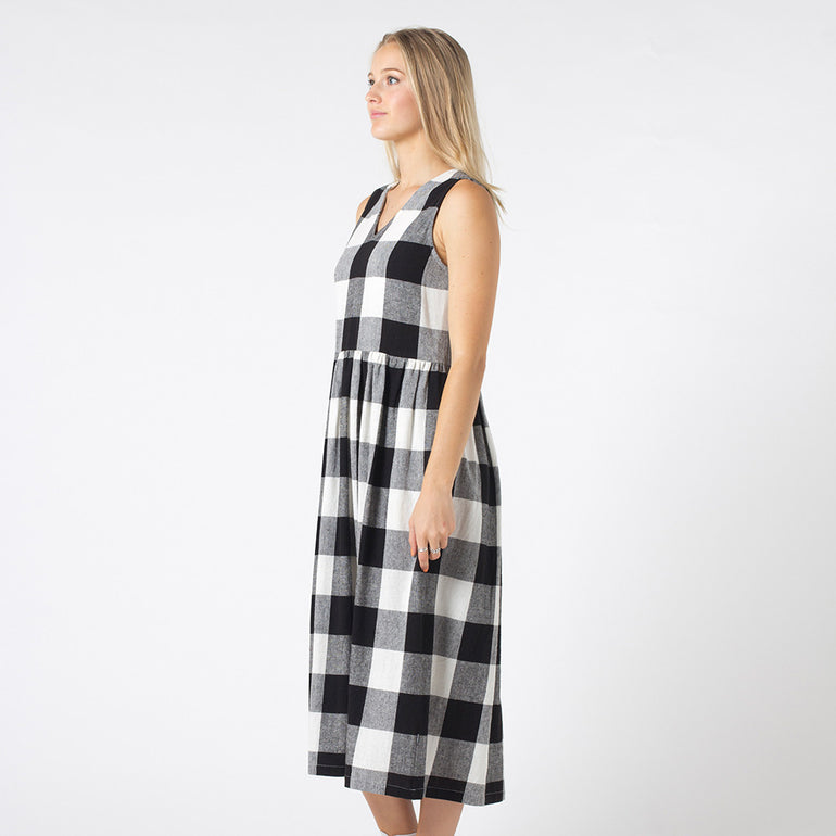 Lower Pinafore Dress in Black/White Check
