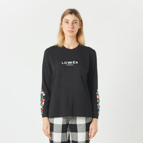 Lower Relax L/S Tee / Floral (Embroidered) - Black