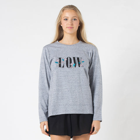 Lower Relax L/S Tee / Floral Low - Grey Marle