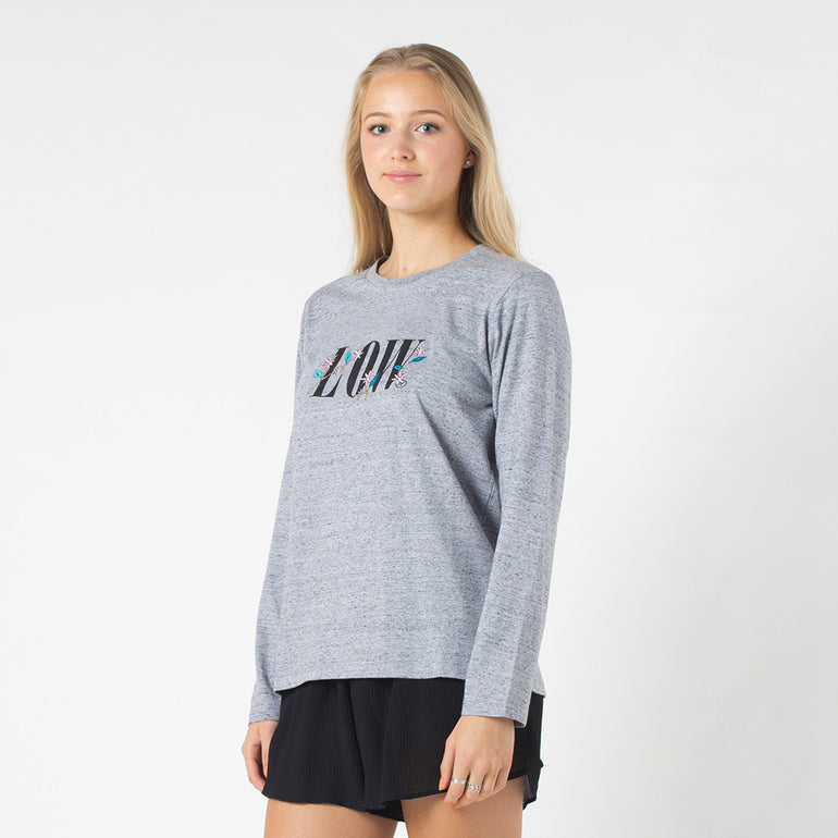 Lower Relax L/S Tee / Floral Low in Grey Marle