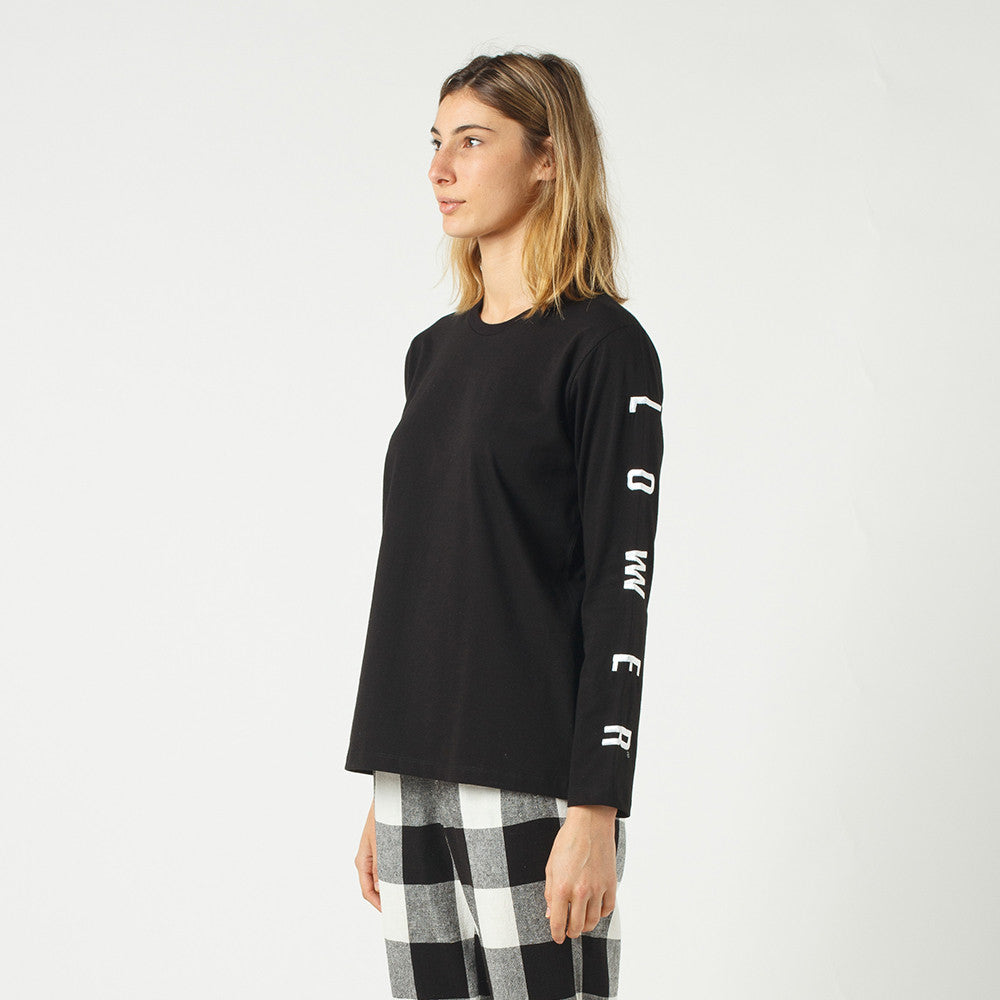 Lower Relax L/S Tee / Script Sign (Embroidered) in Black