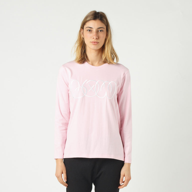 Lower Relax L/S Tee / Phase (Embroidered) - Pink