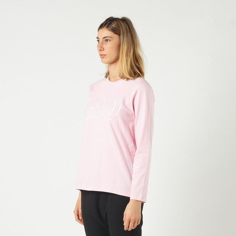 Lower Relax L/S Tee / Phase (Embroidered) in Pink