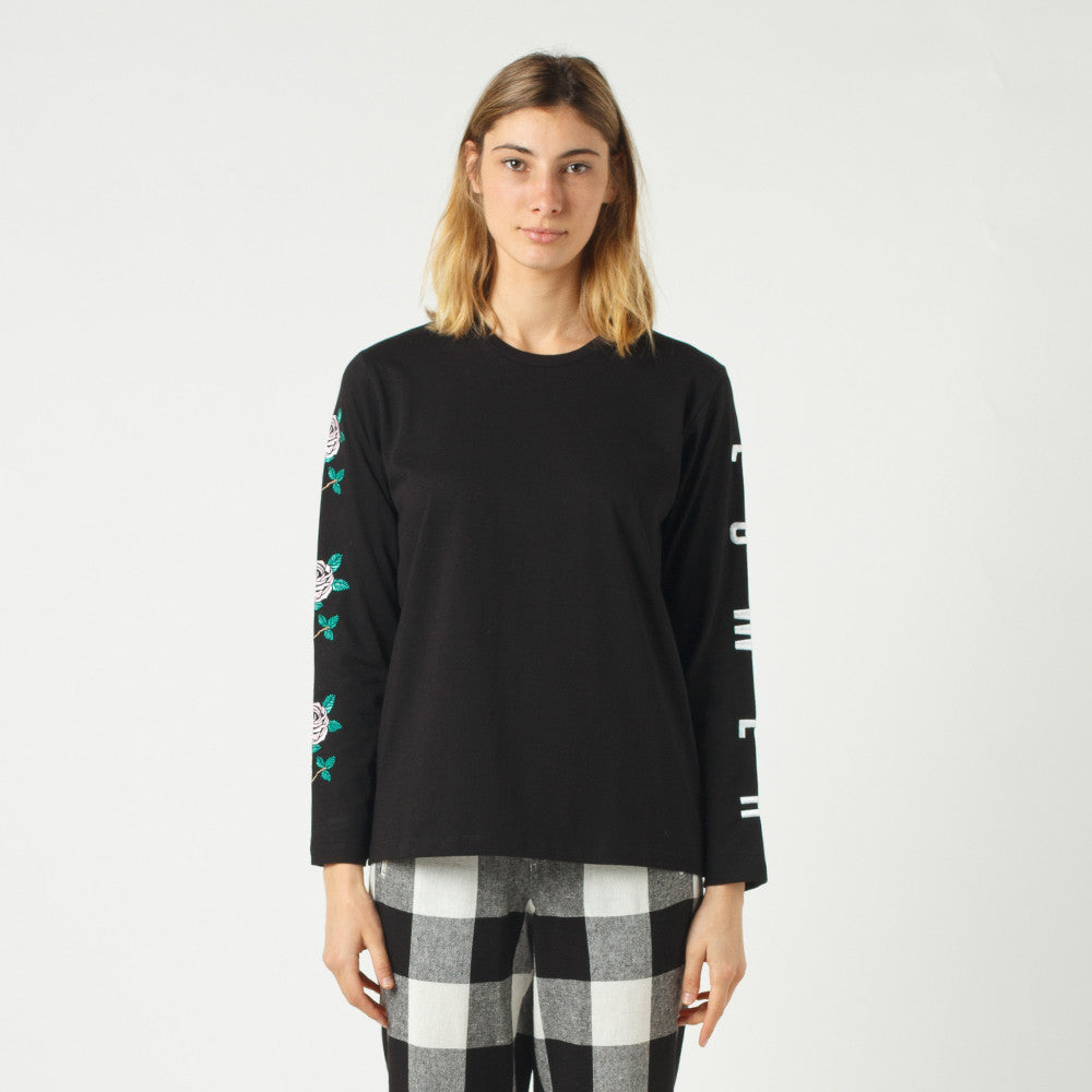 Lower Relax L/S Tee / Script Sign (Embroidered) - Black