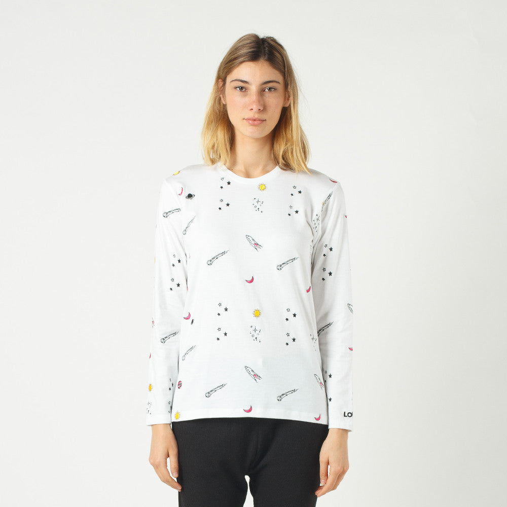 Lower Relax L/S Tee / Space (Embroidered) - White