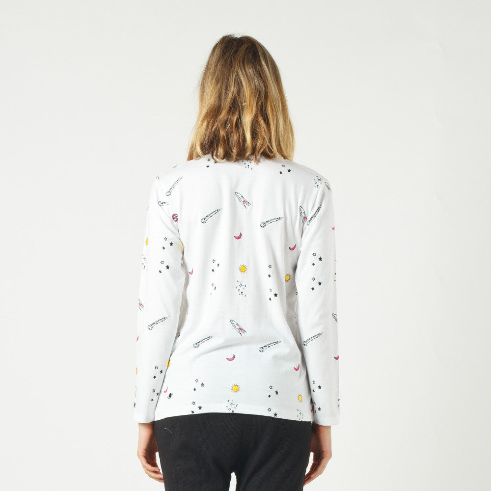 Lower Relax L/S Tee / Space (Embroidered) White