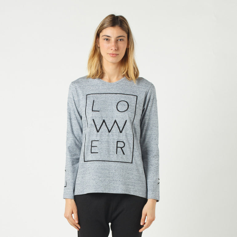 Lower Relax L/S Tee / Zeit (Embroidered) - Grey