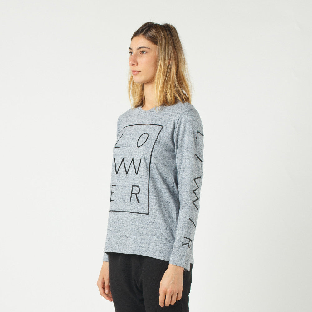 Lower Relax L/S Tee / Zeit (Embroidered) in Grey