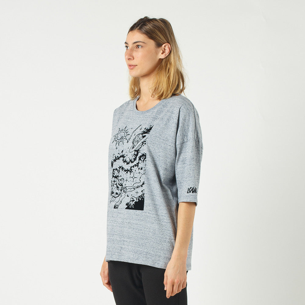 Lower Slouchy Drop Tee / Space (Flocking) in Grey