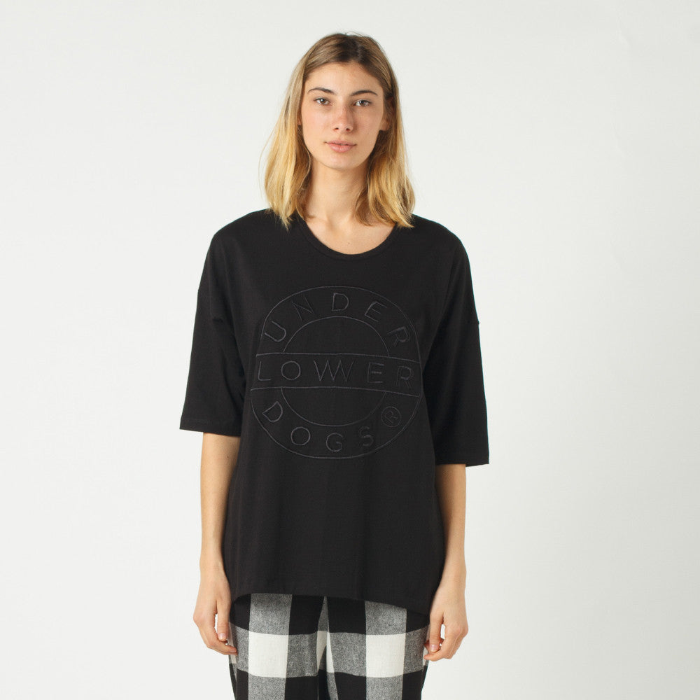 Lower Slouchy Drop Tee / Sign (Embroidered) - Black
