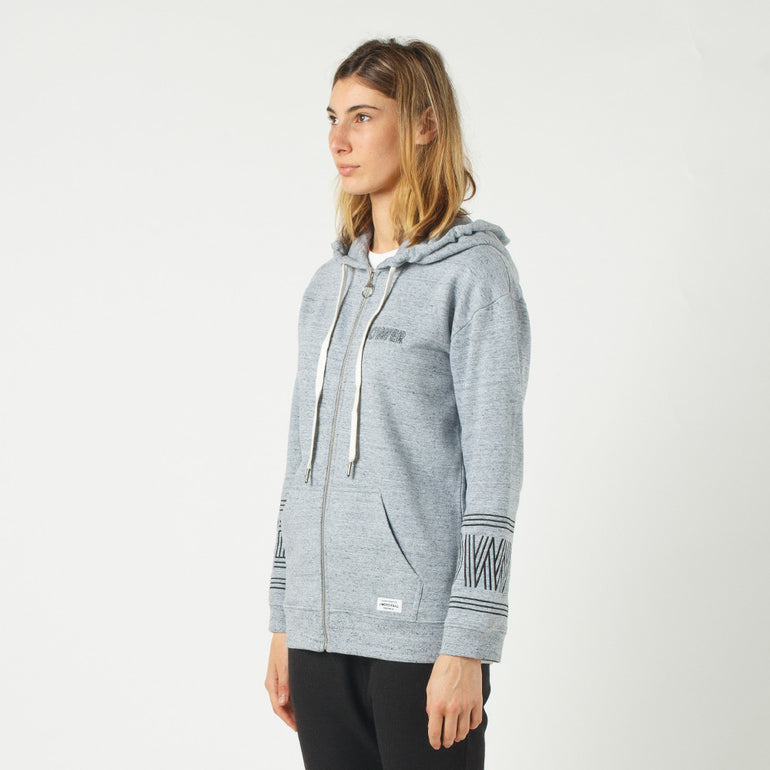 Lower Zip Hood / Licorice (Embroidered) in Grey Marle
