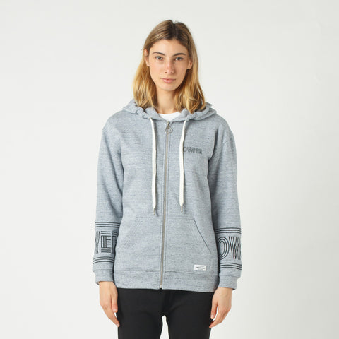 Lower Zip Hood / Licorice (Embroidered) - Grey Marle