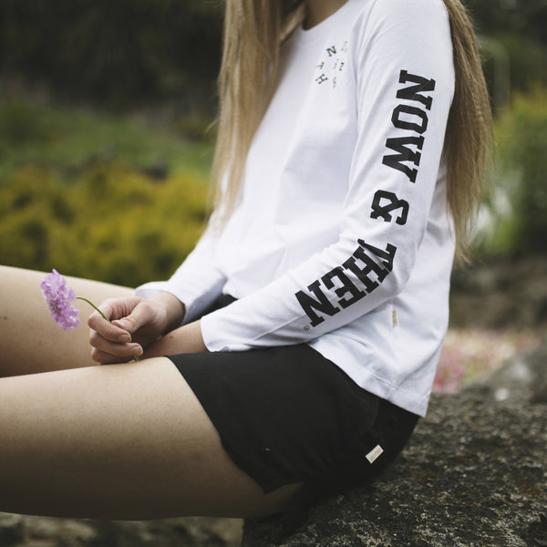 Now & Then Daily L/S Tee 'College' - White