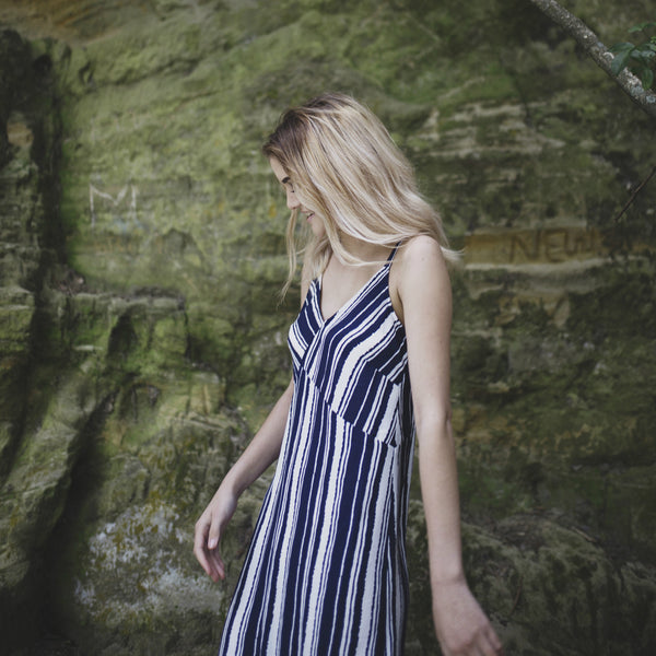 Now & Then Karen Slip Dress - Navy/White Stripe