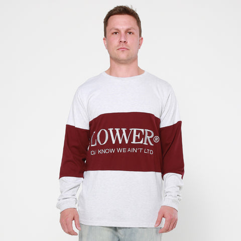 Lower Panel L/S Tee / Lo Word - Silver Marle/Maroon