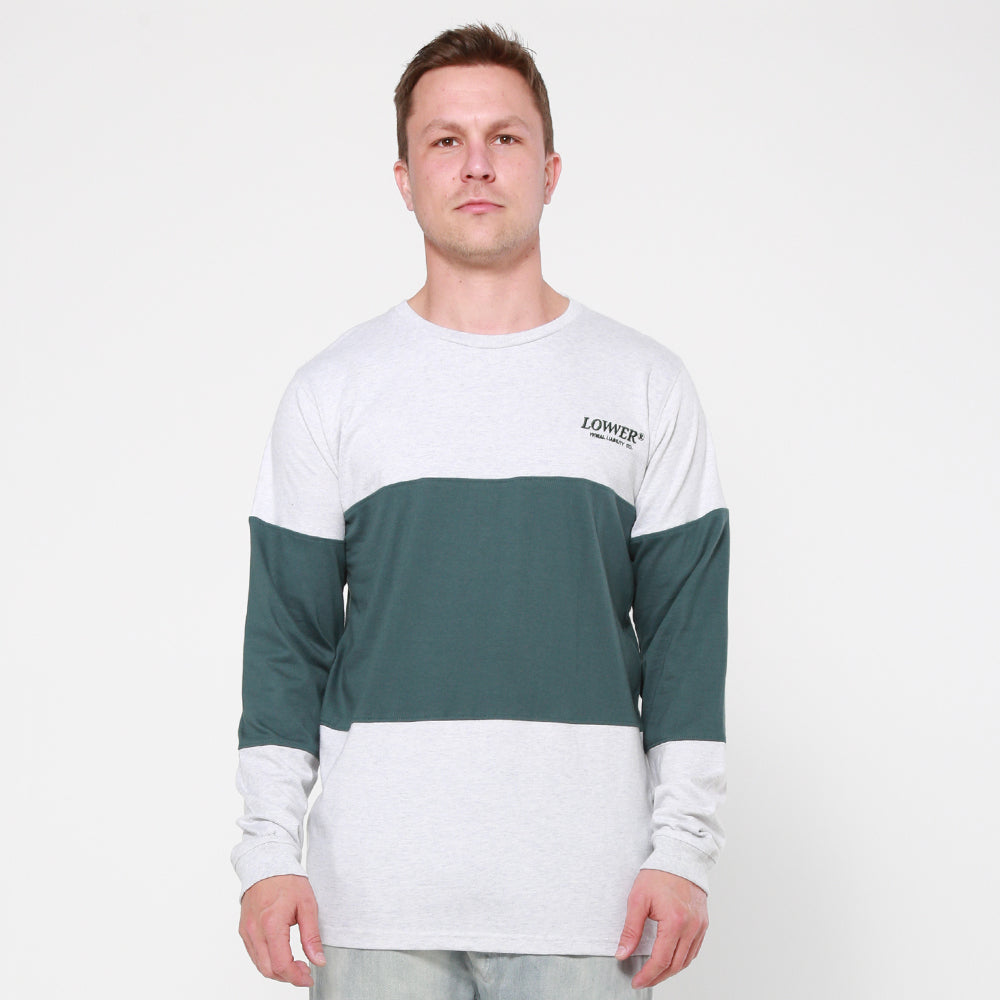 Lower Panel L/S Tee / Slant Serif - Silver Marle/Green