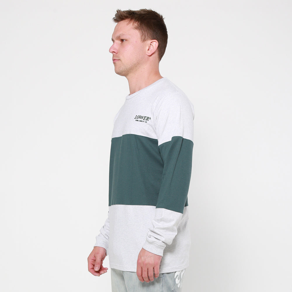 Lower Panel L/S Tee / Slant Serif in Silver Marle/Green