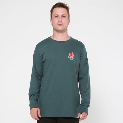 Lower QRS L/S Tee / La Flame - Green